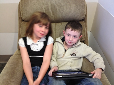 Maeve and Will in the ICU waiting room earlier this month.