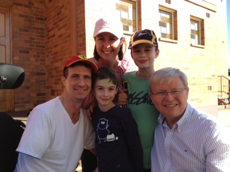 Matthew, Di, Ben, and Luke with Kevin Rudd