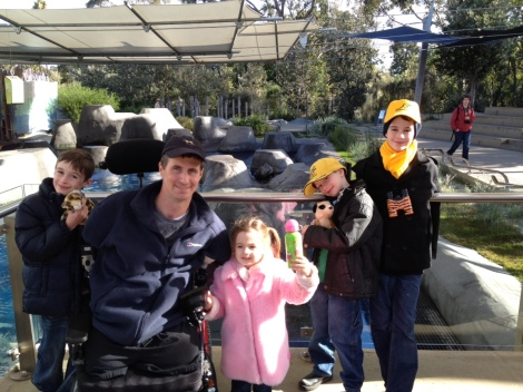 Matthew and the children at Melbourne Zoo.