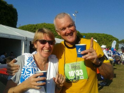 Steph and Martyn Robotham, looking way too happy after running 10 kilometres in the Bridge to Brisbane. Must be the coffee!